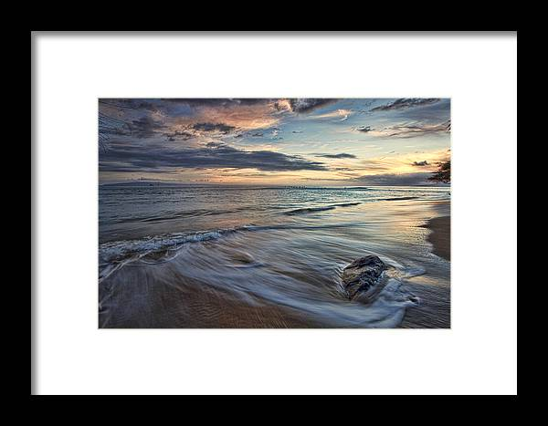 Maui Hawaii Ebb Flow Beach Sea Seaside Clouds Framed Print featuring the photograph Peace by James Roemmling