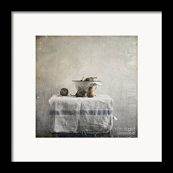 Pears Under Grunge Textures Framed Print featuring the photograph Pears Under Grunge by Paul Grand