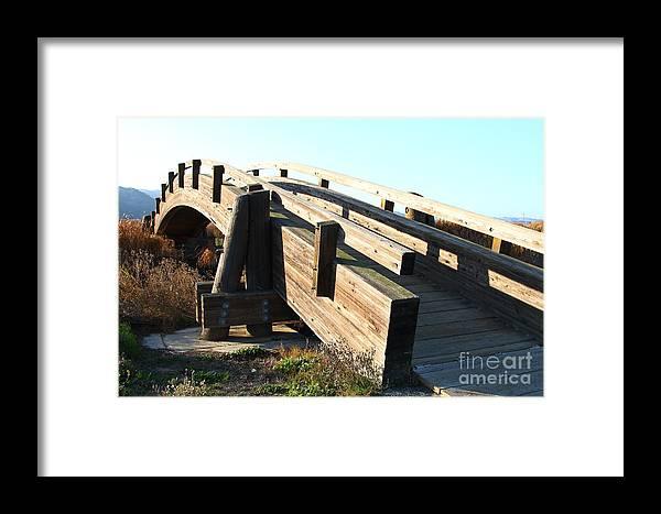 Bridge Framed Print featuring the photograph Pedestrian Bridge At Martinez Regional Shoreline Park In Martinez California . 7d10513 by Wingsdomain Art and Photography