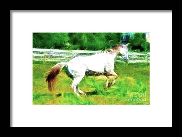 White Horse Framed Print featuring the photograph Pegasus Impression by Paul Ward