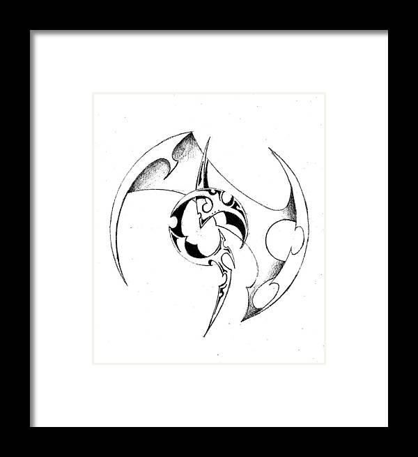 Symbol Circle Pencil Design Shade Framed Print featuring the drawing Pencil And Ink 50-2011.jpg by Frank G