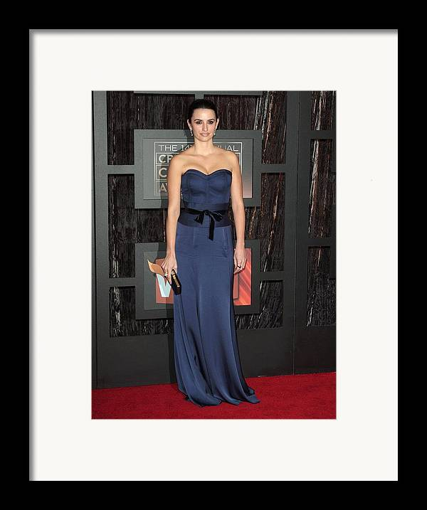 14th Annual Critics'' Choice Awards Framed Print featuring the photograph Penelope Cruz At Arrivals For 14th by Everett