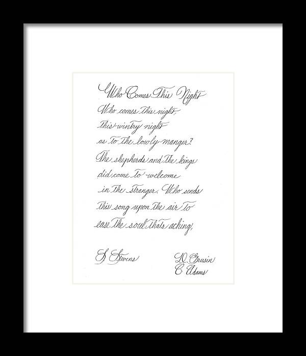 Who Comes This Night Framed Print featuring the painting Penmanship by Valerie VanOrden