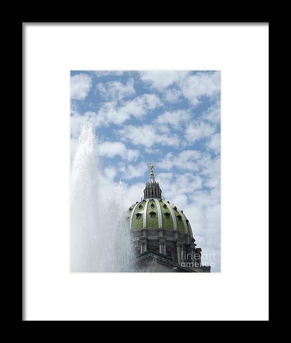 Fountain Framed Print featuring the photograph Pennsylvania Capital by Chad Thompson