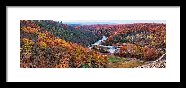 Panoramic Pennsylvania Dam View Fall Color Valley Trees Framed Print featuring the photograph Pennsylvania Color by Alice Gipson