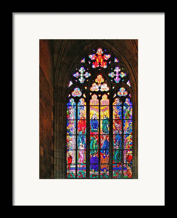 Pentecost Framed Print featuring the photograph Pentecost Window - St. Vitus Cathedral Prague by Christine Till