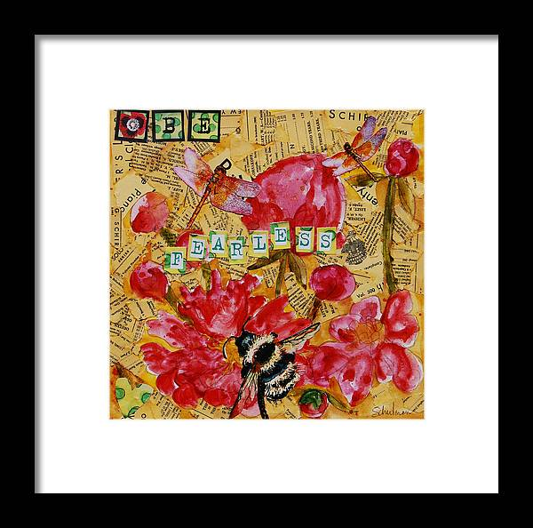 Art Framed Print featuring the painting Peony Flower Painting - Be Fearless by Miriam Schulman