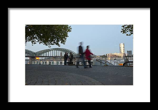 Color Image Framed Print featuring the photograph People Walk Along The Rhine River by Greg Dale