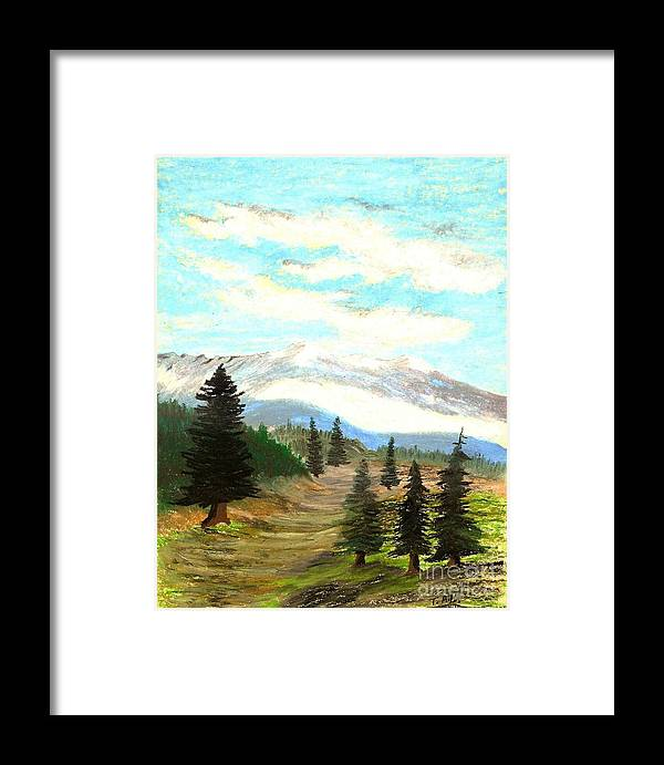 Mountain Framed Print featuring the painting Perfect Pines Peak by Jessi and James Gault