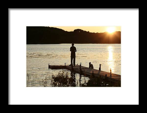 Water Framed Print featuring the photograph Person contemplating by Dr Carolyn Reinhart