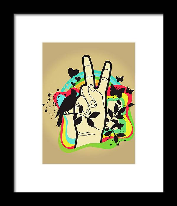 Person Making Peace Symbol, Butterflies And Dove In Background Framed Print