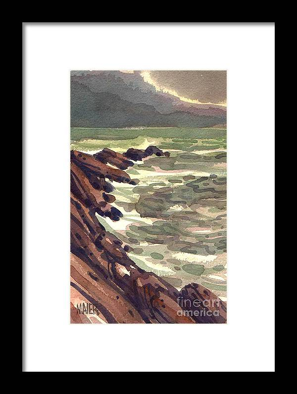 Seascape Framed Print featuring the painting Pescadero Rocks by Donald Maier