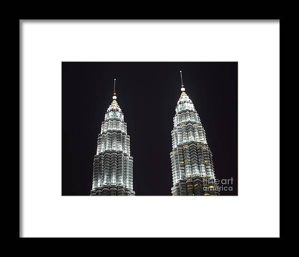 Tower Framed Print featuring the photograph Petronas Tower Top Detail by Gualtiero Boffi