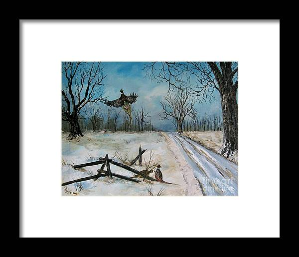 Pheasants Framed Print featuring the pastel Pheasants In The Snow by Patricia Lang