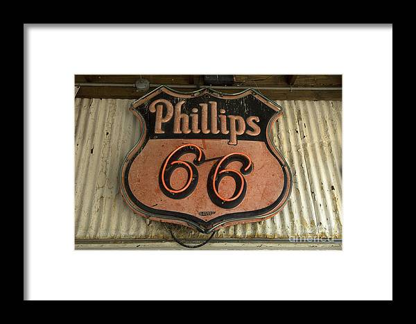 Route 66 Framed Print featuring the photograph Phillips 66 Vintage Sign by Bob Christopher