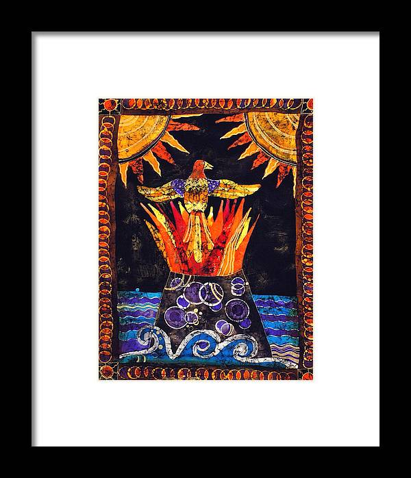 Silk Framed Print featuring the tapestry - textile Phoenix by Sandra Kern