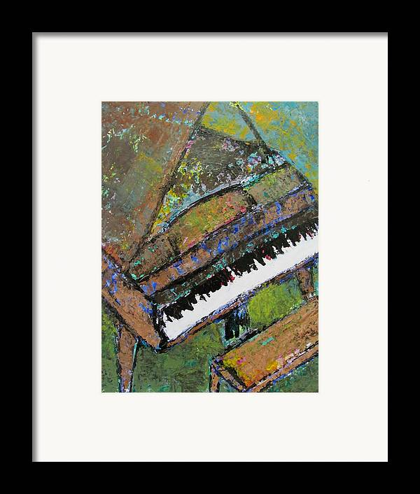Music Framed Print featuring the painting Piano Aqua Wall - Cropped by Anita Burgermeister