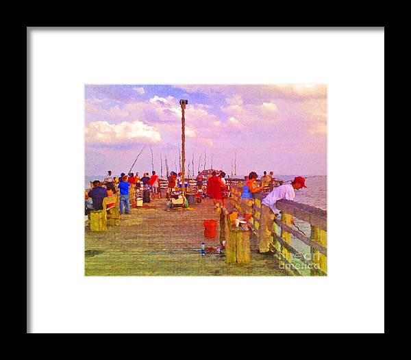 Pier Framed Print featuring the photograph Pier Fishing by Scott Hervieux
