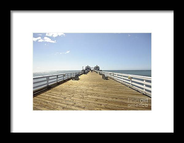 Beach Malibu California Usa West Coast Water Sunny Bright Pier Wood Wooden Colorful Clouds Art Gallery Gift Office Decor Decoration Framed Print featuring the photograph Pier In Malibu by Darwin Lopez