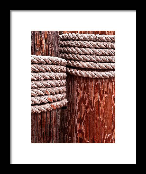 Pier Framed Print featuring the photograph Pier Ropes by Bill Owen