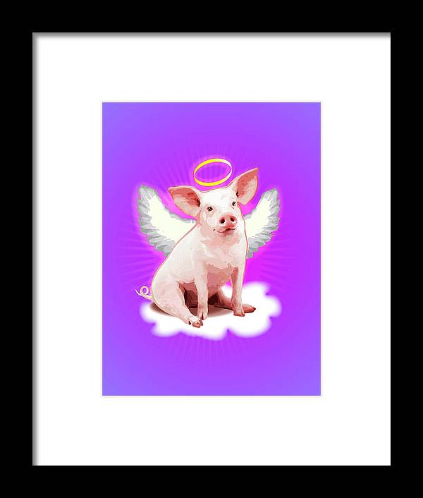 Pig With Wings And Halo Framed Print By New Vision Technologies Inc