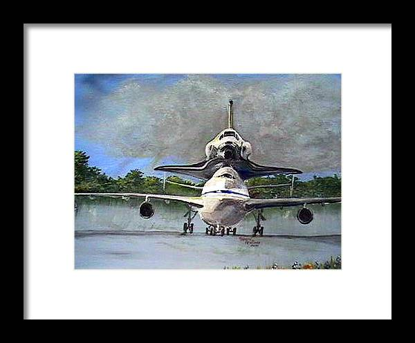 Aviation Framed Print featuring the painting Piggy Back by Leslie Hoops-Wallace