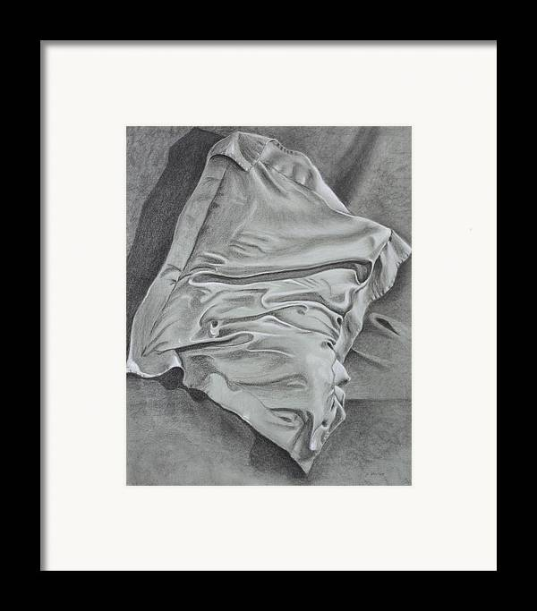 Pillow Still Life In Human Pose Framed Print featuring the drawing Pillow Talk by Patsy Sharpe