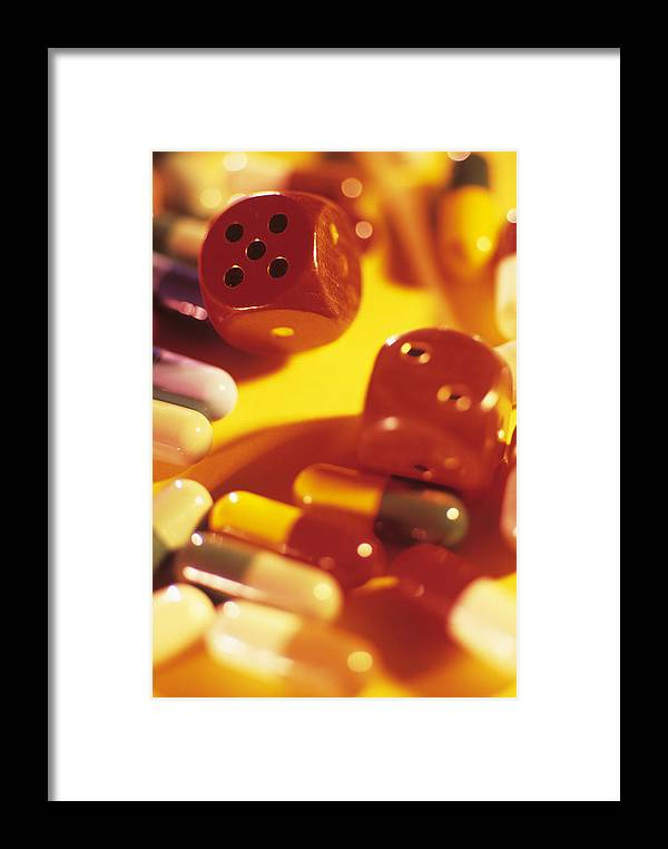 Drug Framed Print featuring the photograph Pills And Dice by David Aubrey