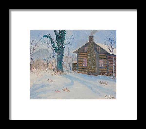 Pilot Mountain Framed Print featuring the painting Pilot Mountain Lodge by Ben Kiger