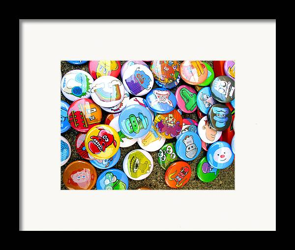 Pinback Framed Print featuring the photograph Pinback Buttons by Jera Sky