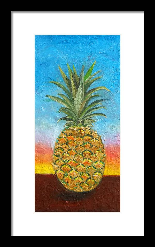 Pineapple Framed Print featuring the painting Pineapple Sunrise 2 Or Pinapple Sunset 2 by Anne Cameron Cutri