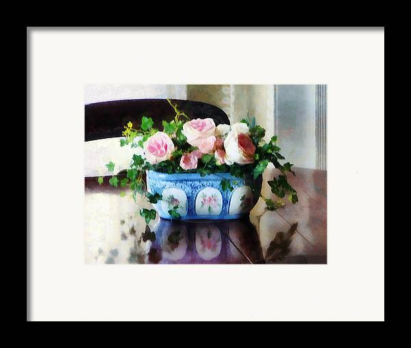 Rose Framed Print featuring the photograph Pink Roses And Ivy by Susan Savad