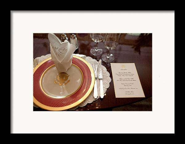 History Framed Print featuring the photograph Place Setting Of The White House China by Everett
