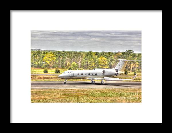 Hdr Photographs Framed Print featuring the photograph Plane Landing Air Brakes Blur Background by Pictures HDR