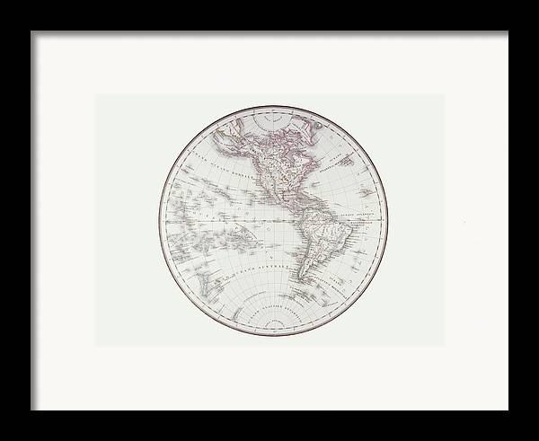 Horizontal Framed Print featuring the digital art Planispheric Map Of The Western Hemisphere by Fototeca Storica Nazionale