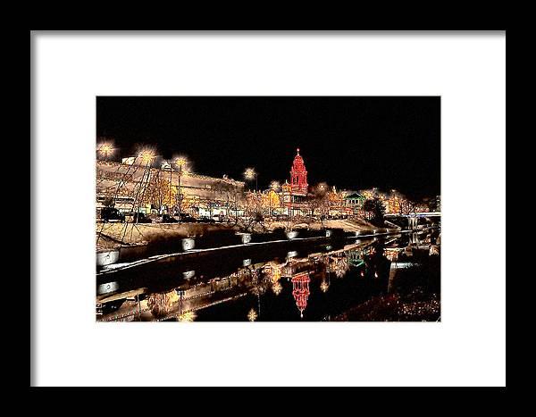 Plaza Lights Framed Print featuring the digital art Plaza Lights Kansas City Missouri by Joseph Ventura
