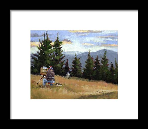 Mountain Framed Print featuring the painting Plein Air by Todd Baxter