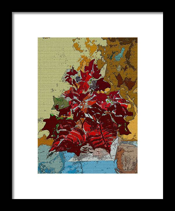 Christmas Framed Print featuring the painting Poinsettia Elegant by Mindy Newman