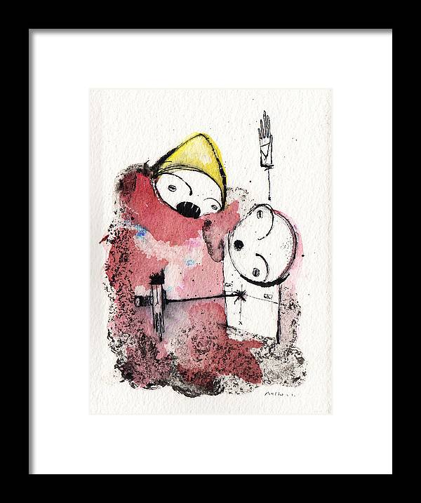 War Framed Print featuring the drawing Polemos 6 by Mark M Mellon