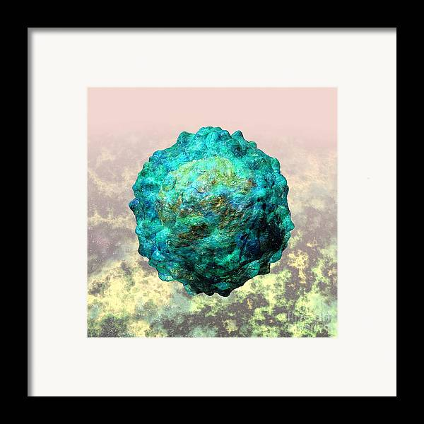 Biological Framed Print featuring the digital art Polio Virus Particle Or Virion Poliovirus 1 by Russell Kightley