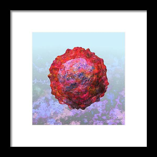 Biological Framed Print featuring the digital art Polio Virus Particle Or Virion Poliovirus 2 by Russell Kightley
