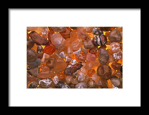 Agate Framed Print featuring the photograph Polished Agates by Kaj R. Svensson