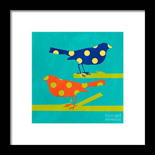 Bird Framed Print featuring the mixed media Polka Dot Birds by Linda Woods