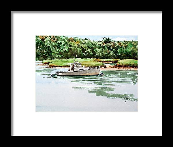 Peter Sit Watercolor Framed Print featuring the painting Polly C on the Mill River by Peter Sit