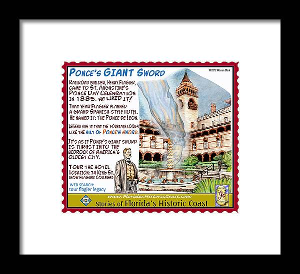 St. Augustine Framed Print featuring the mixed media Ponce's Giant Sword by Warren Clark