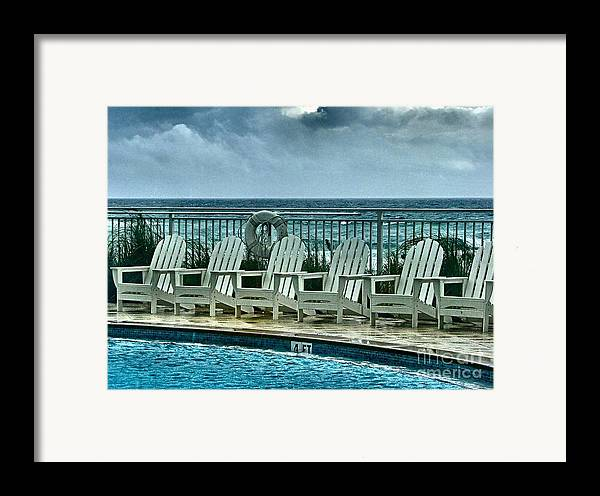 Gulf Of Mexico Framed Print featuring the photograph Poolside With A View by Julie Dant