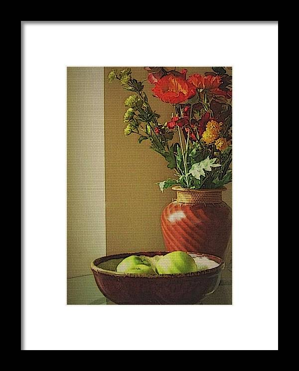 Still Life Framed Print featuring the photograph Poppies and apples still life by Joseph Ferguson