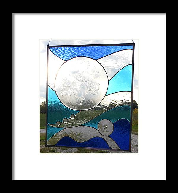 stained Glass Panel Framed Print featuring the glass art Poppies In The Clouds by Arlene Wright-Correll
