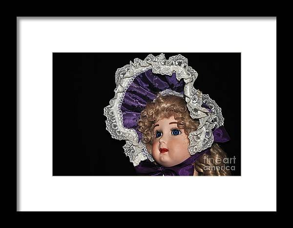 Photography Framed Print featuring the photograph Porcelain Doll - Head And Bonnet by Kaye Menner