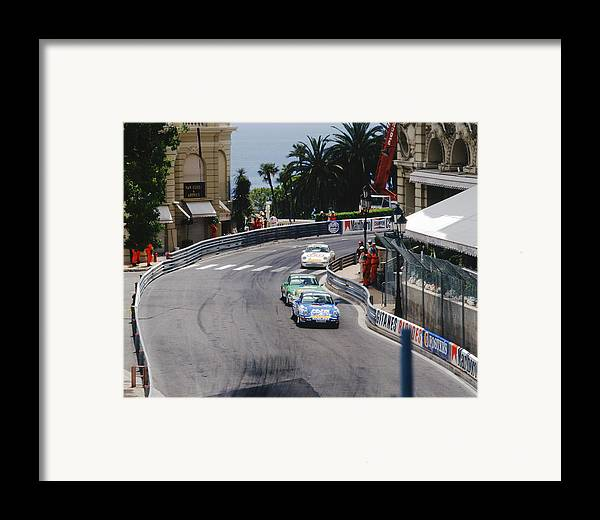 1994 Monaco Grand Prix Framed Print featuring the photograph Porsches At Monte Carlo Casino Square by John Bowers